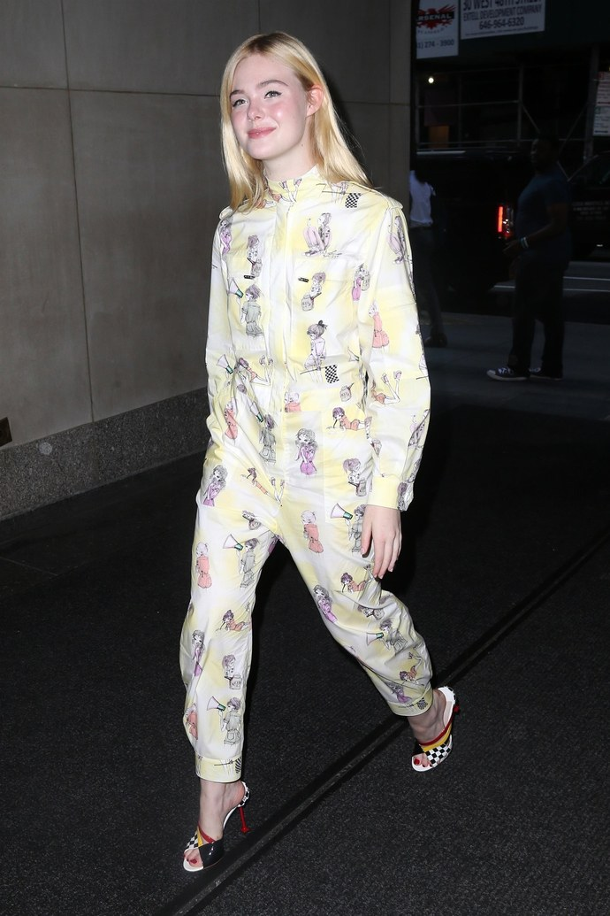 Elle Fanning's fashion comes up to speed with her leading roles. Maintains just enough quirk to appeal to youthful fans in a Miu Miu onesie for her appearance on the today show.