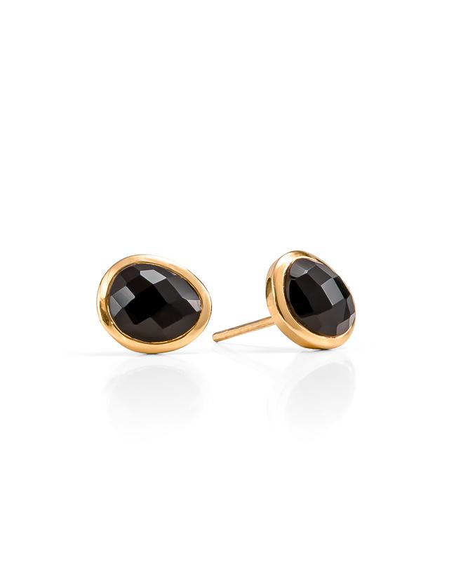 Black onyx gold studs_$149