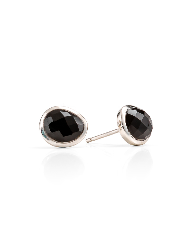 Black onyx silver studs_$139