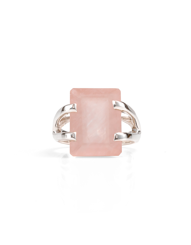 Rose quartz silver ring_$239