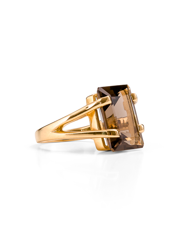 Smokey quartz gold ring_$249