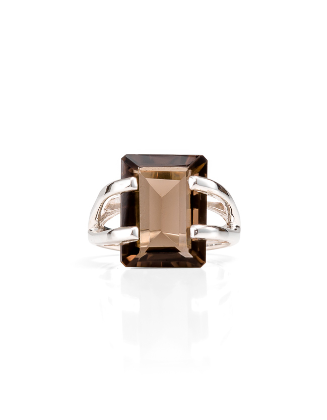 Smokey quartz silver ring_$239