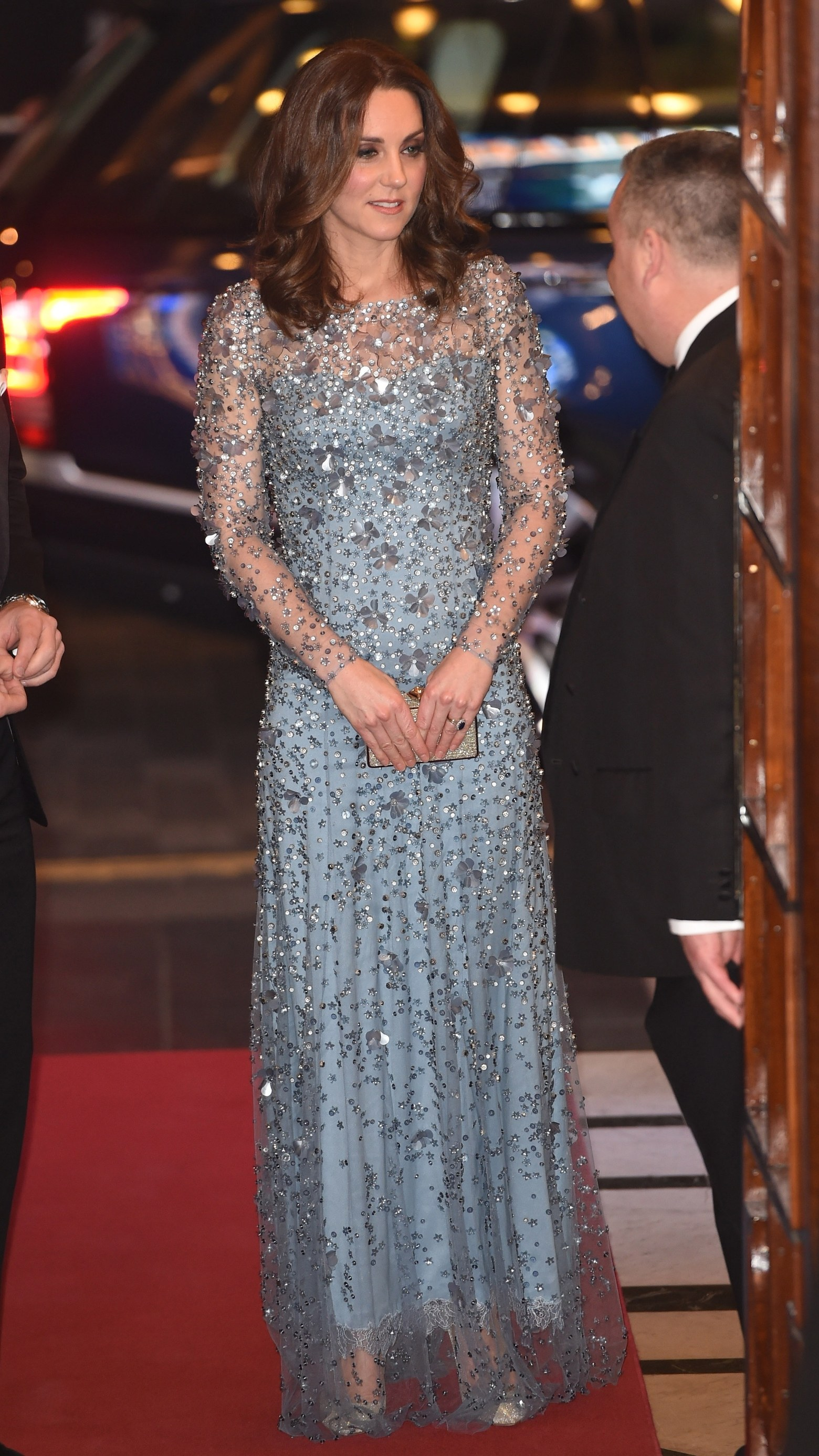 Kate Middleton wore a sparkling, embroidered Jenny Packham gown to the Royal Variety Show.
