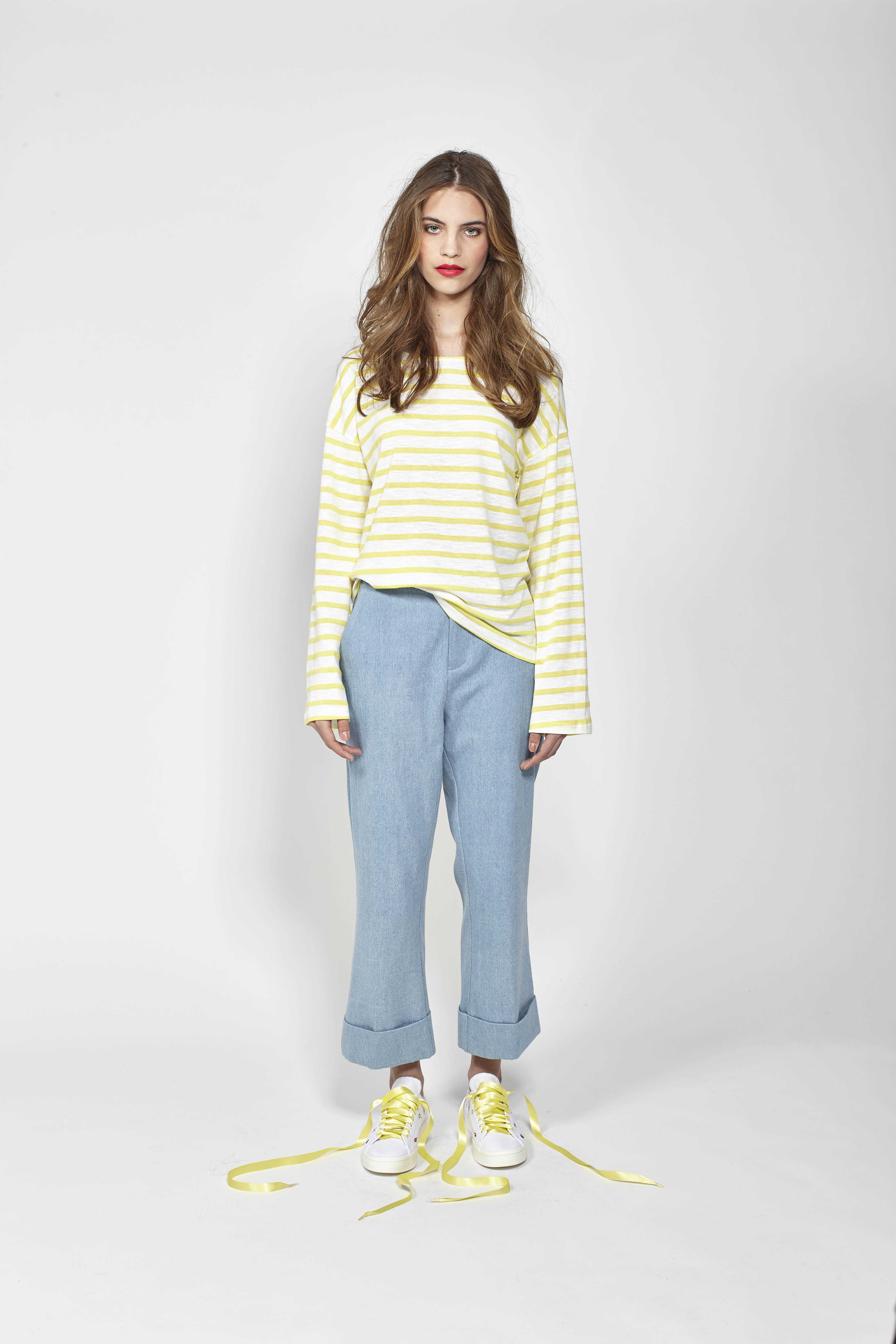 LB1067 LEO+BE Lucky Tee - Yellow, RRP$98.00 and LB1094 LEO+BE Rad Pant - Denim, RRP$159.00