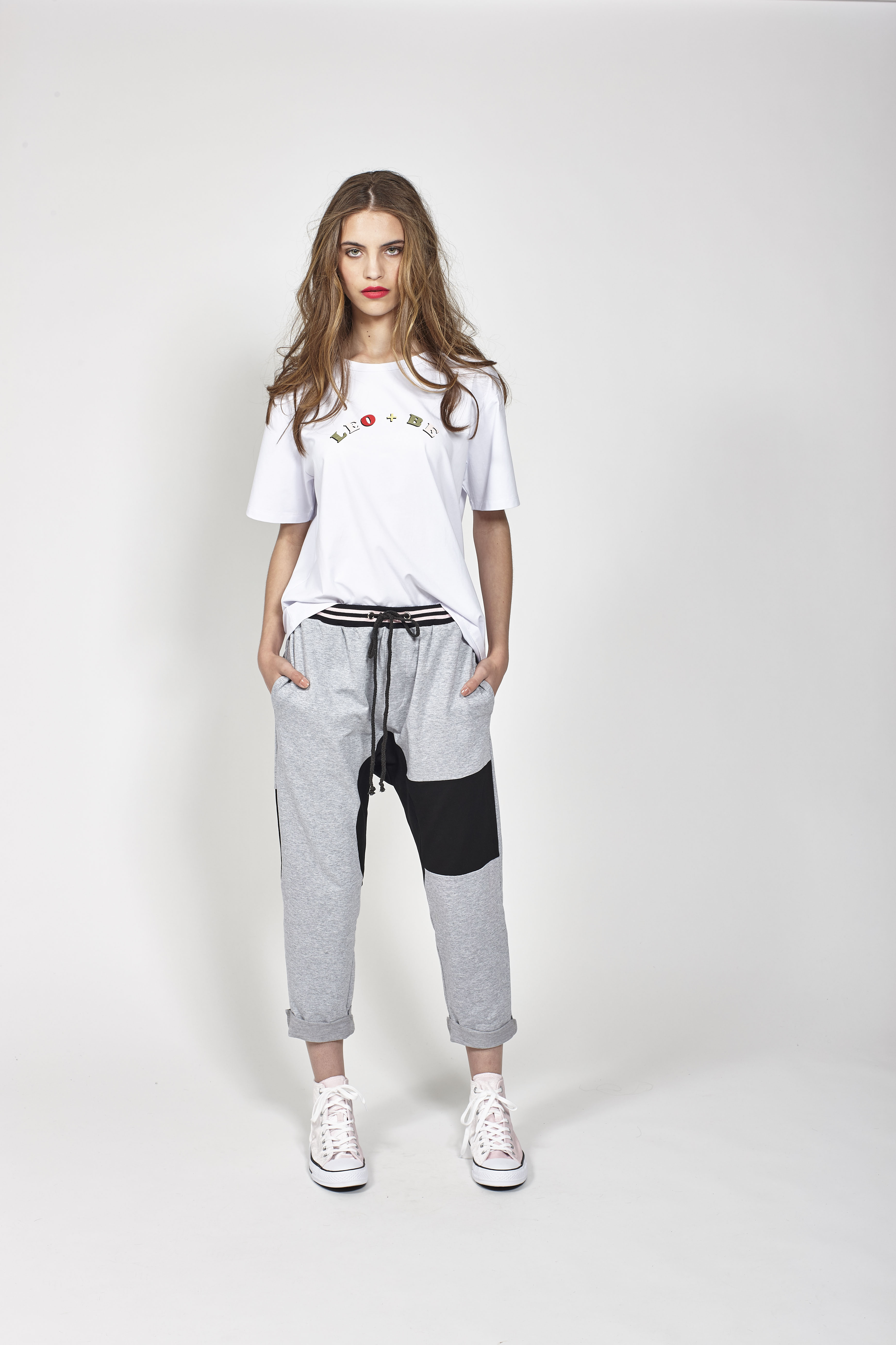 LB1070 LEO+BE Wonderful Tee, RRP$98.00 and LB1066 LEO+BE Paradise Sweatpant, RRP$159.00