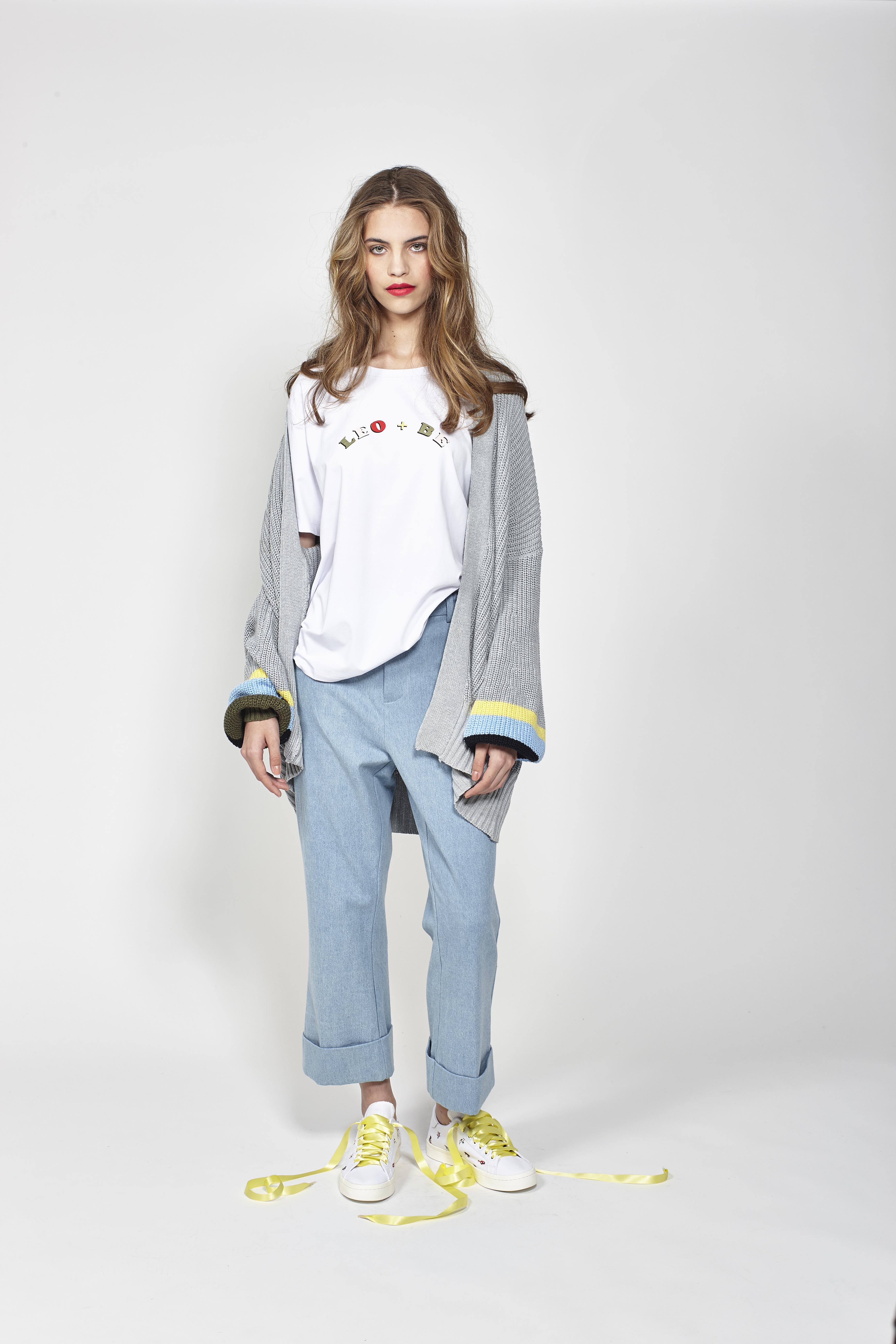 LB1092 LEO+BE Wildfire Cardi, RRP$188.00, LB1070 LEO+BE Wonderful Tee, RRP$98.00 and LB1094 LEO+BE Rad Pant, RRP$159.00