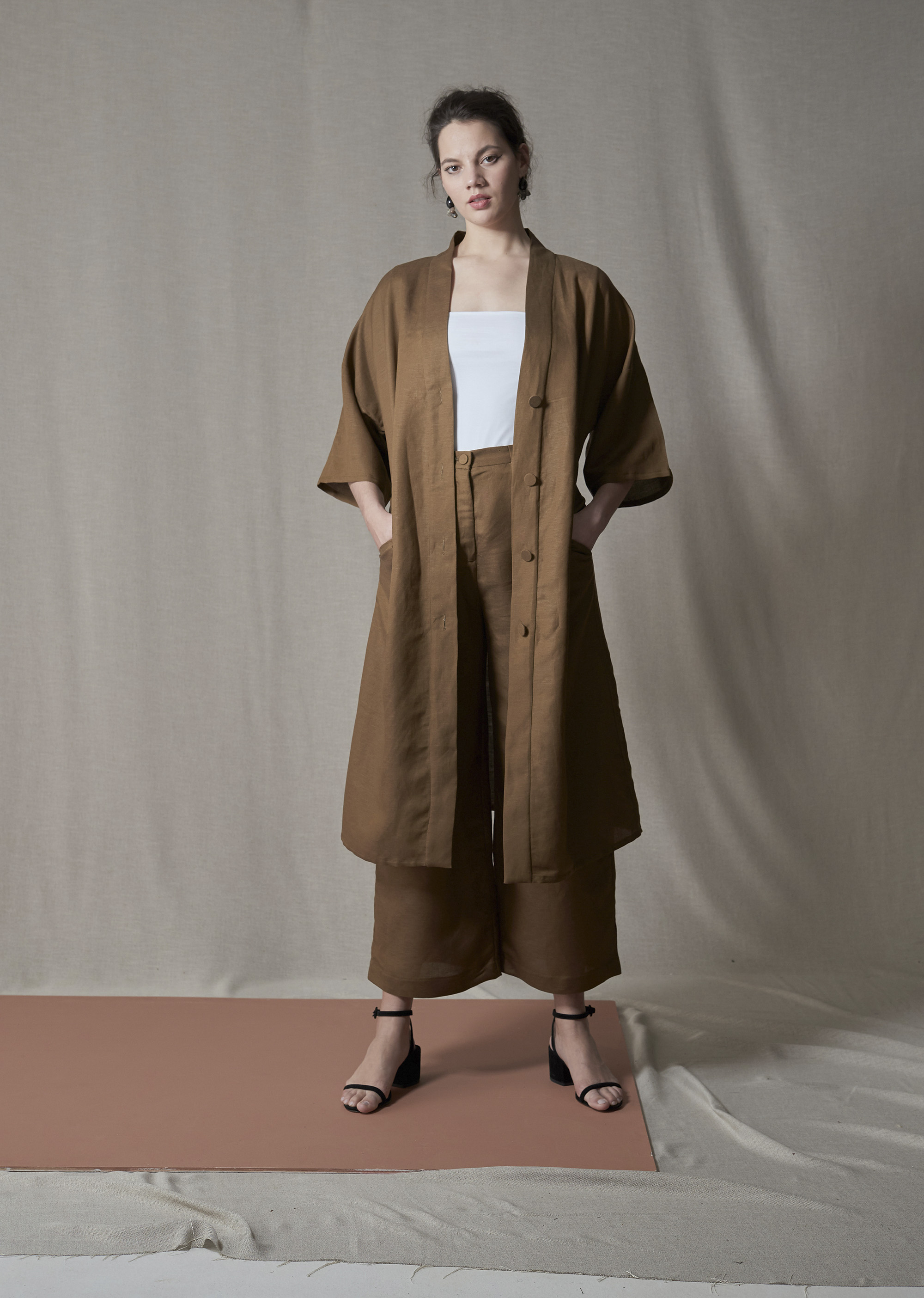 Liam Bailey Robe Dress, Vivvie T-Shirt & Bailey Pant