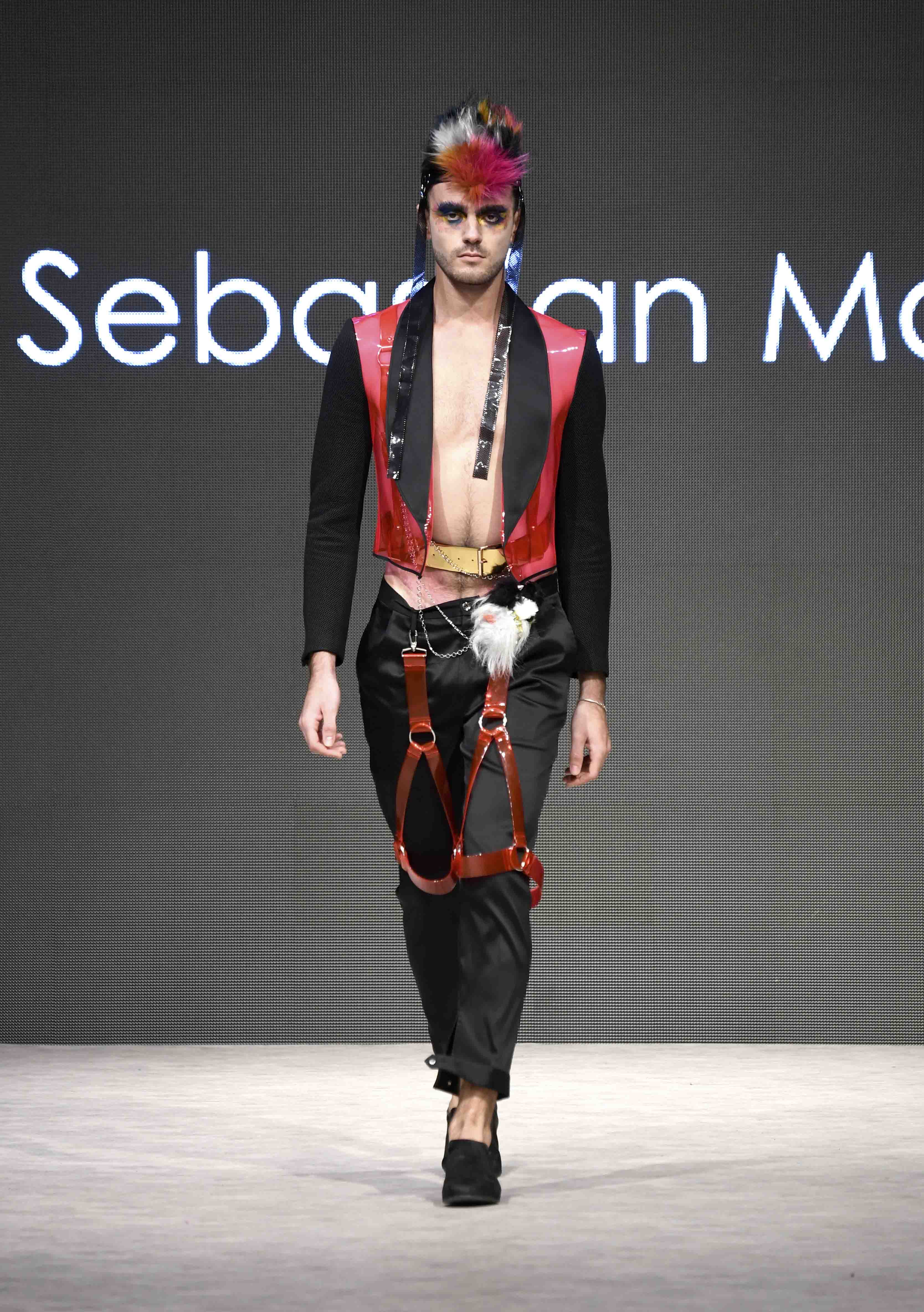 VANCOUVER, BC - SEPTEMBER 17:  A model walks the runway wearing Sebastian Masuda at Vancouver Fashion Week Spring/Summer 19 - Day 1 on September 17, 2018 in Vancouver, Canada.  (Photo by Arun Nevader/Getty Images for VFW Management INC)