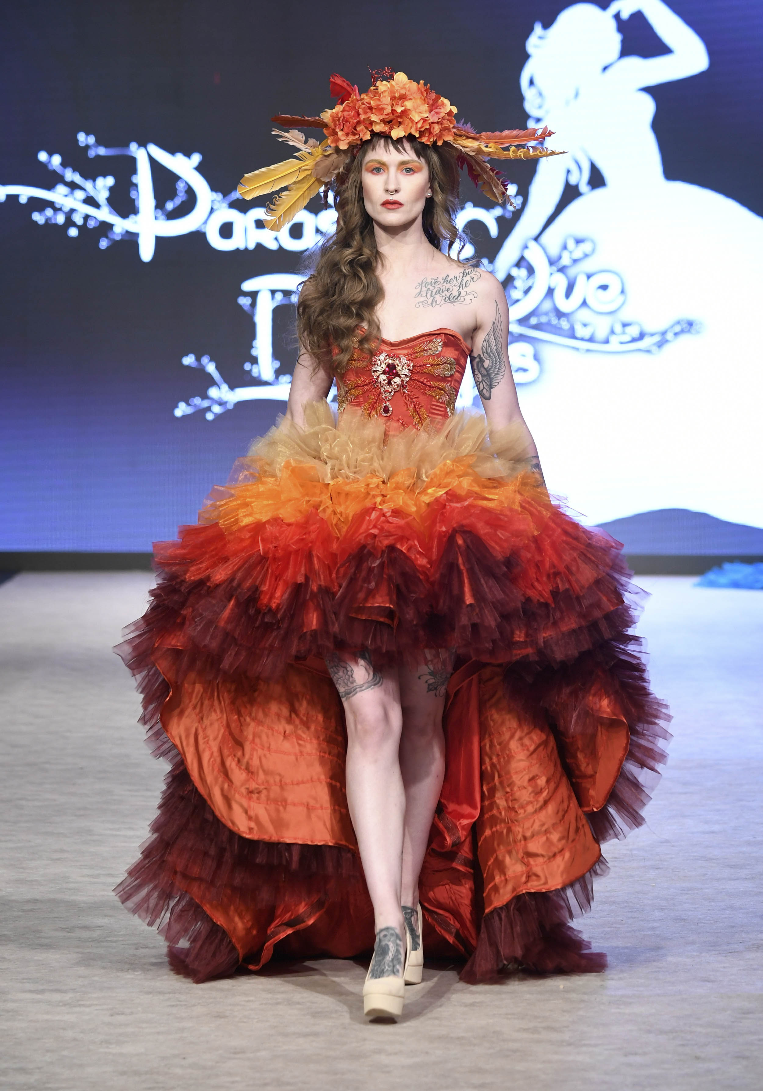 VANCOUVER, BC - SEPTEMBER 18:  A model walks the runway wearing Parasite Eve Designs at Vancouver Fashion Week Spring/Summer 19 - Day 2 on September 18, 2018 in Vancouver, Canada.  (Photo by Arun Nevader/Getty Images for VFW Management INC)