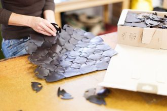 uk sustainable brand elvis and kresse make a bag out of burberry leather offcuts