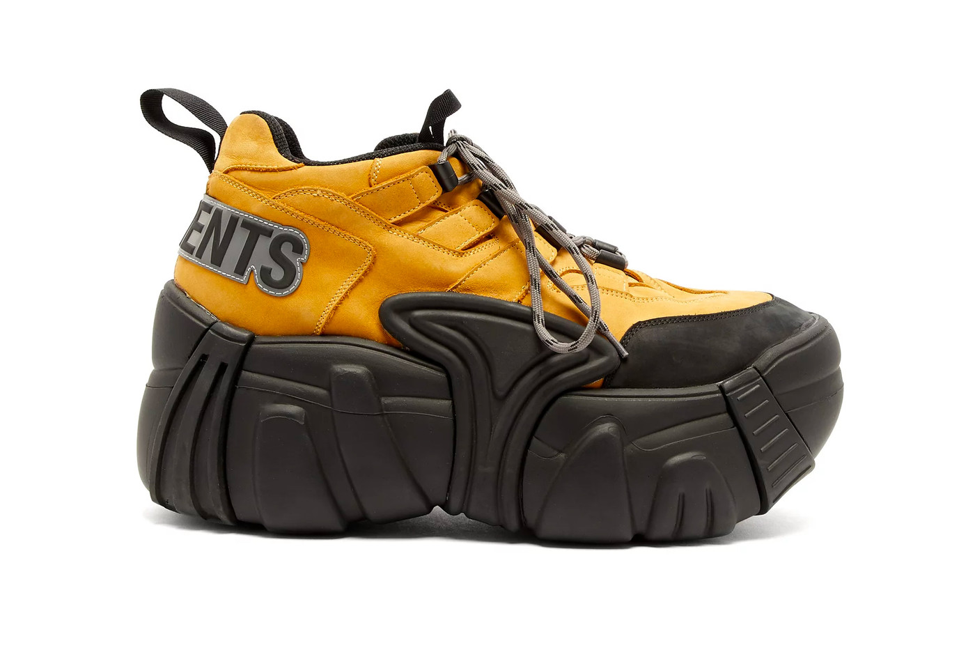 vetements x SWEAR sneaker. huge black platform with a yellow hiking-inspired top-half
