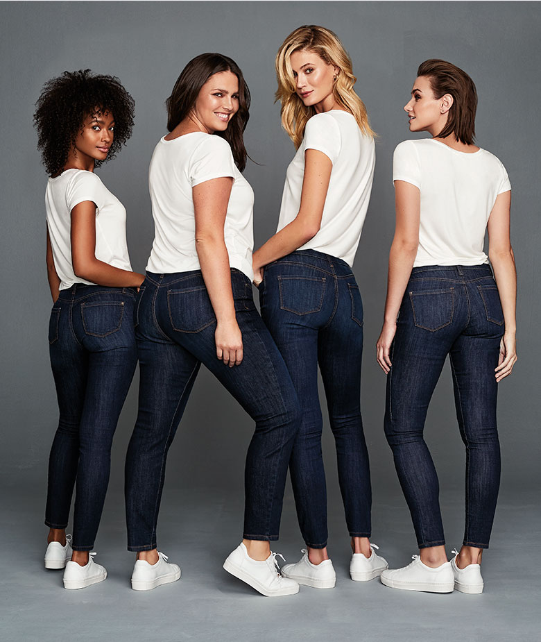 t-shirt and jeans on models of a variety of shapes
