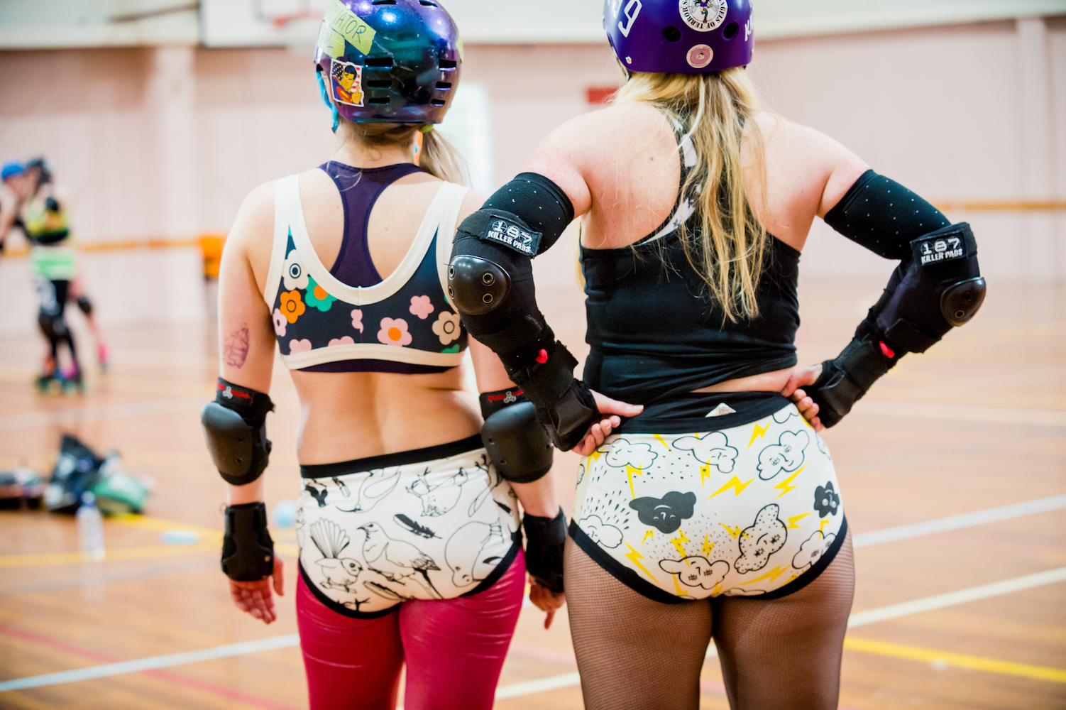 Wellington, NZ, 26 August 2017. Roller Derby players photographed for the Thunderpants company, Wairarapa, NZ. Photo credit: Stephen AíCourt. COPYRIGHT ©Stephen AíCourt