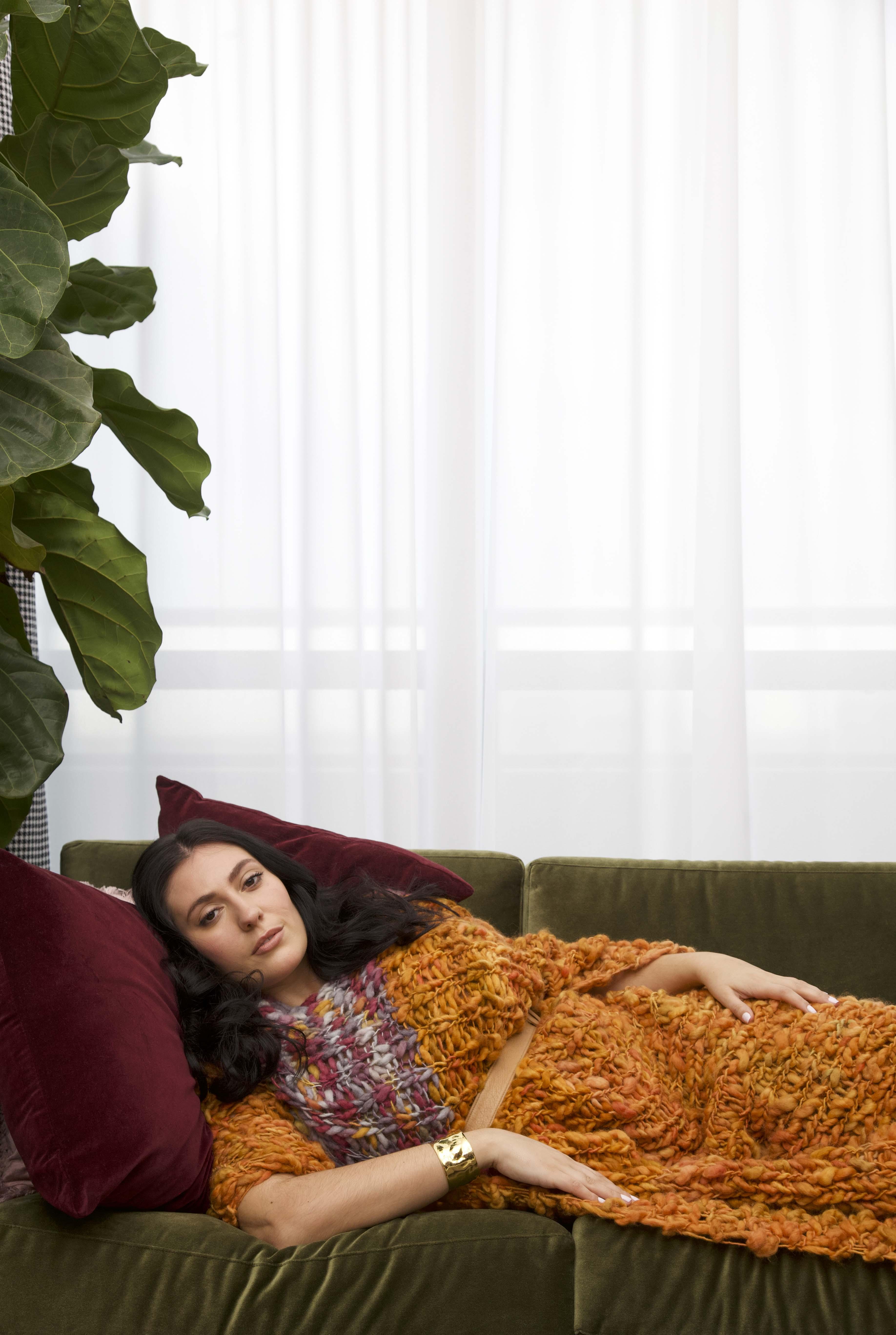 LISA AVIVA-A_W 19_20 Blanket Poncho, in Cadmium Orange
