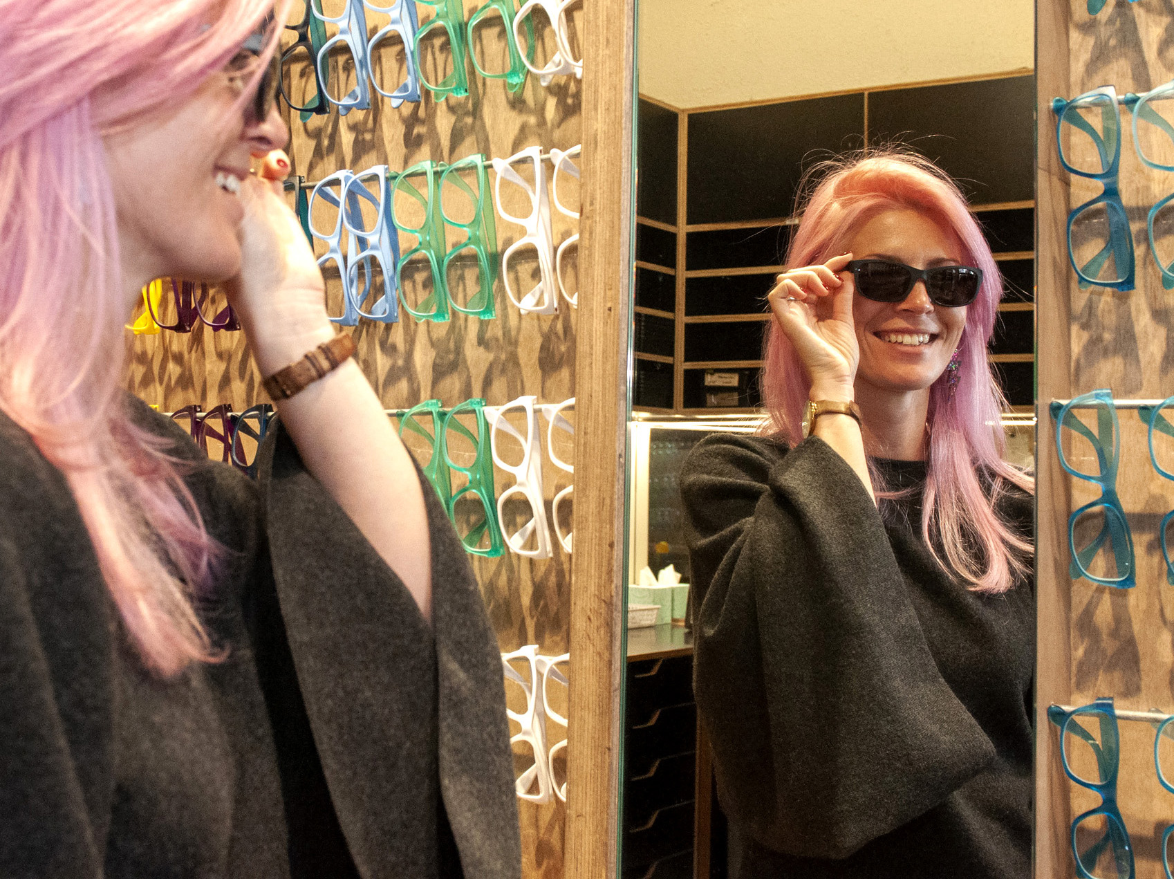 Ewelina Soroko tries on The Shampoo Collection sunglasses at Dresden Newtown