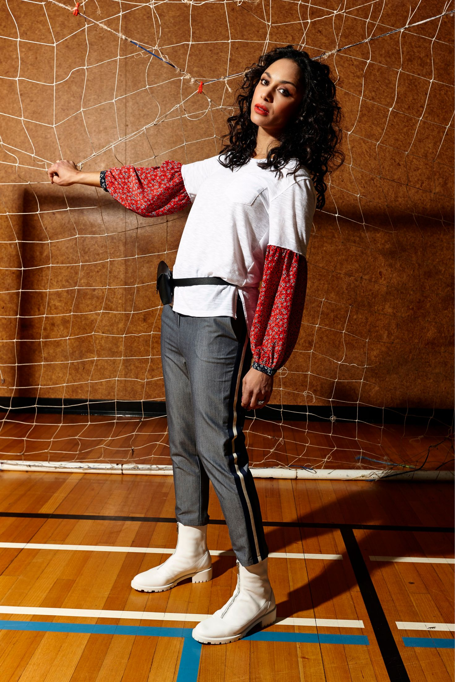 LEO+BE Autumn 20 campaign featuring Sonia Gray_Defence Top, RRP$145.00 & Break Pant, RRP$135.00