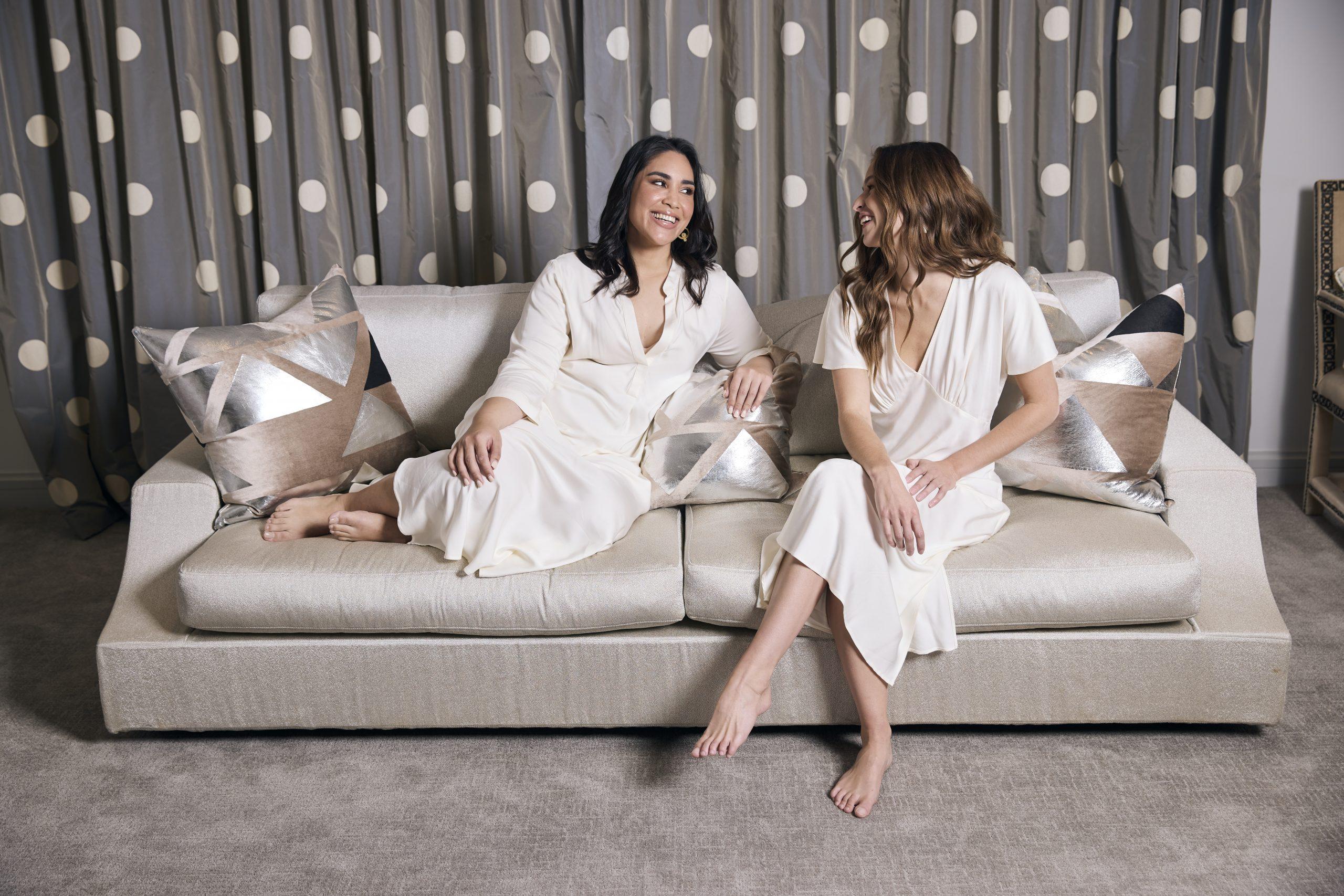 Amelia Lounge Shirt and Amelia V Neck Dress- Ivory 2