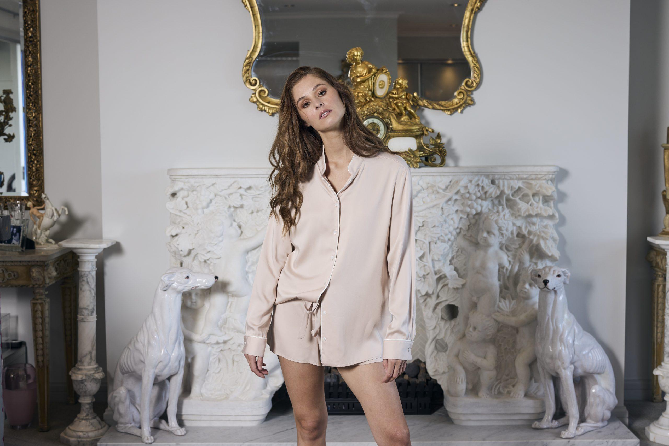 Pajama Shirt and Amelia Short- Nude Pink 1