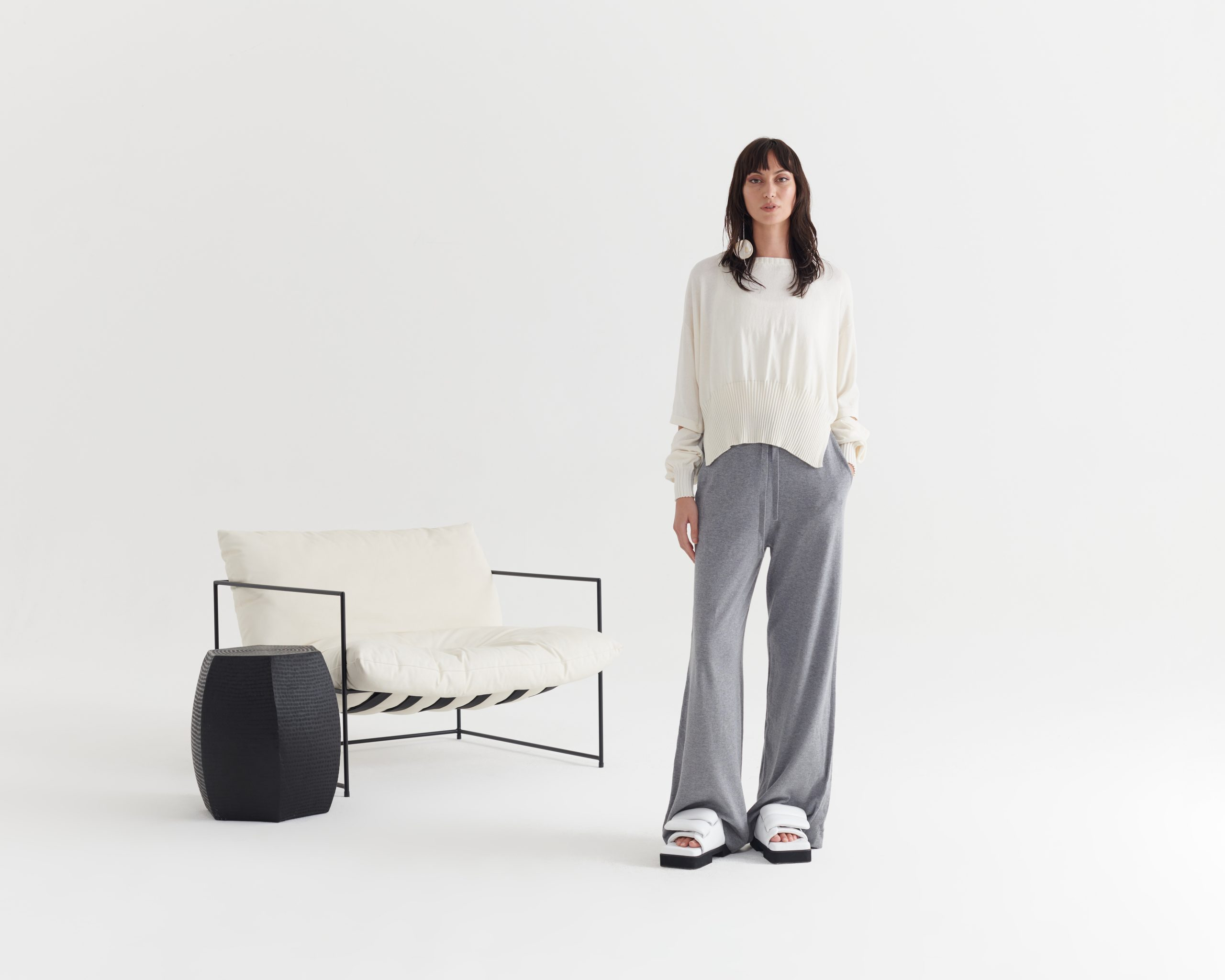 Connection-Sweater-Ivory_Contentment-Pant-Pumice Grey_Taylor_Recline