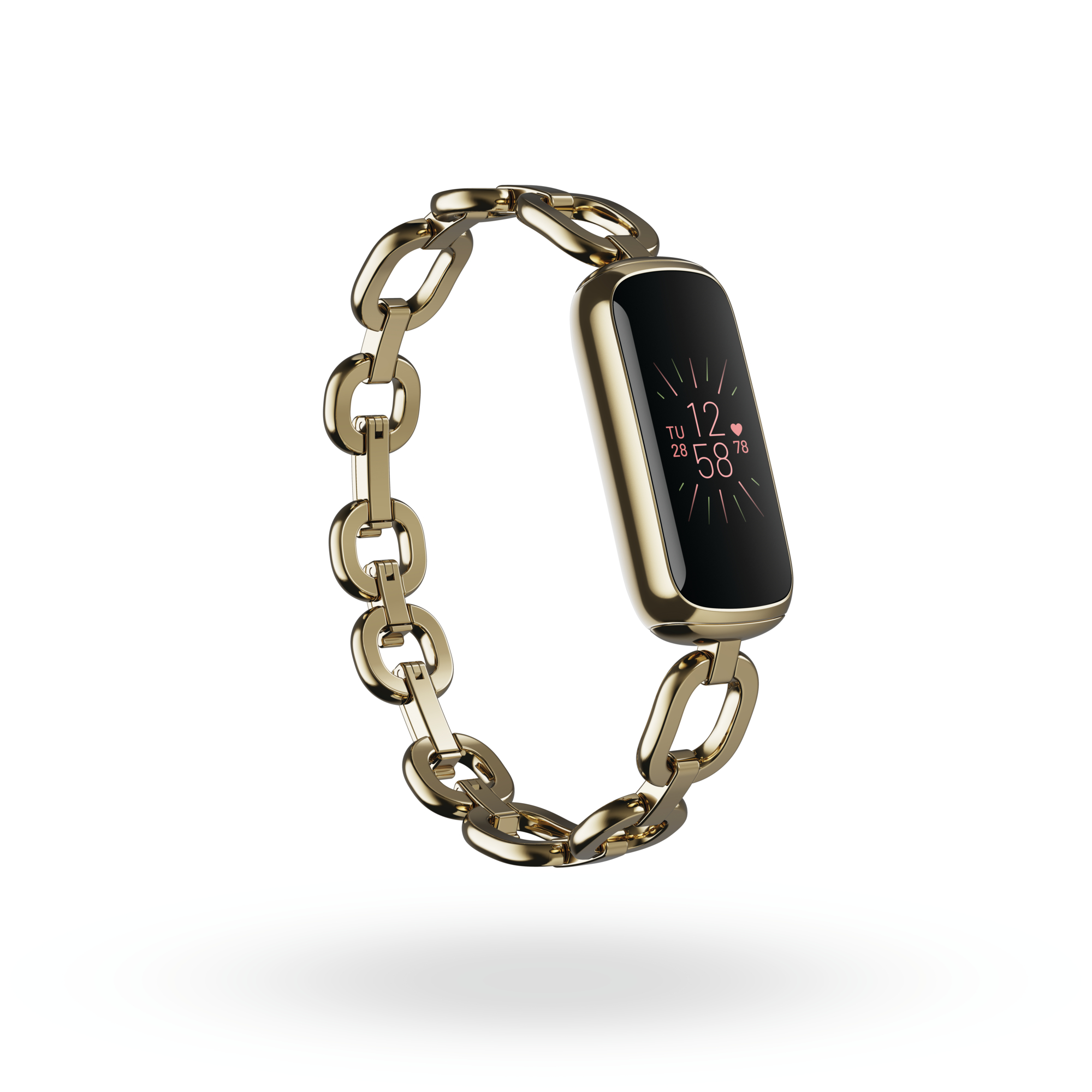 Product render of Fitbit Luxe 3QTR view, in Special Edition gorjana Soft Gold Parker Link Bracelet.
