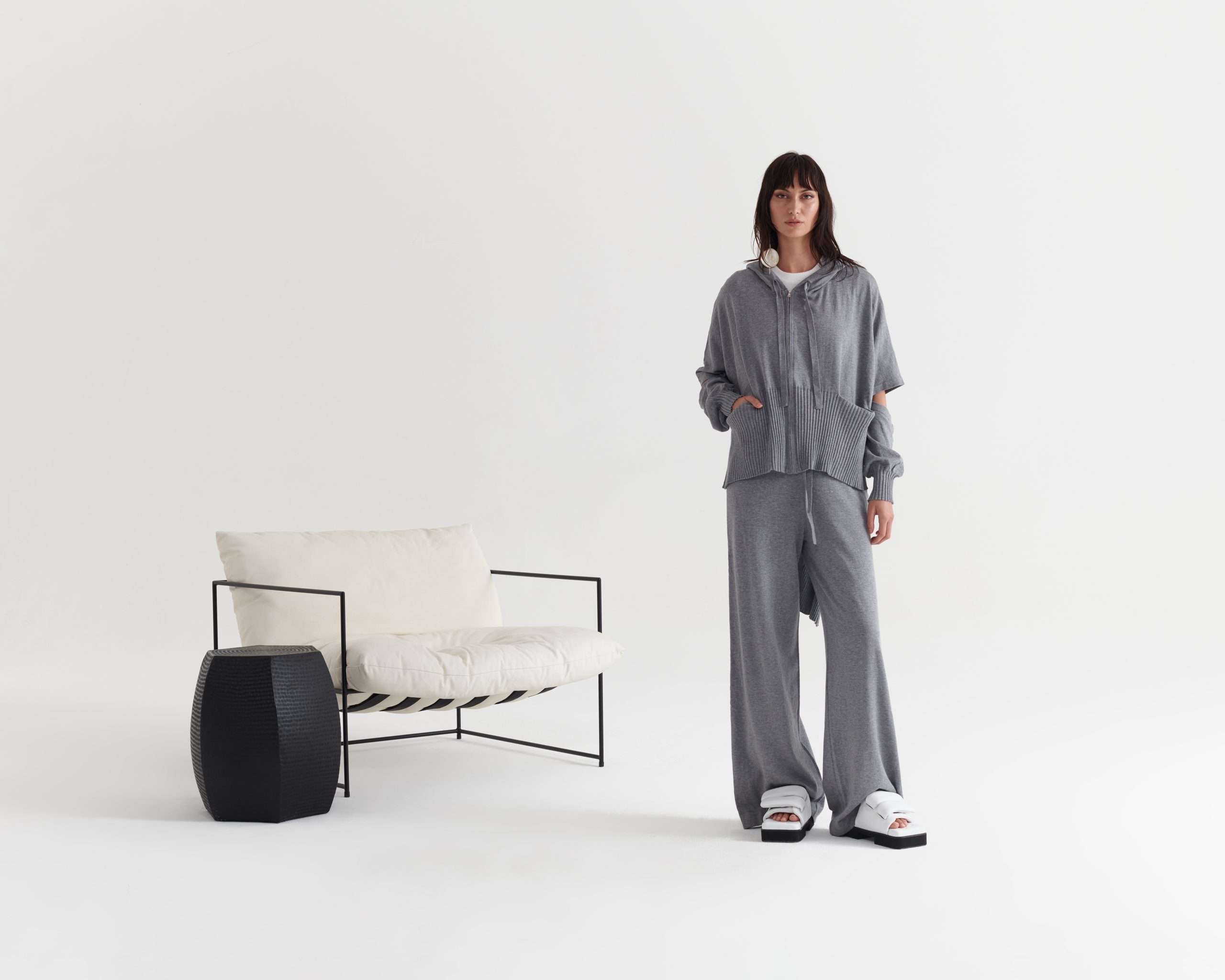 Knitted-Junction-Hoodie-Pumice Grey_Contentment-Pant-Pumice Grey_Taylor_Recline