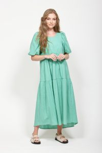 Green midi length linen dress