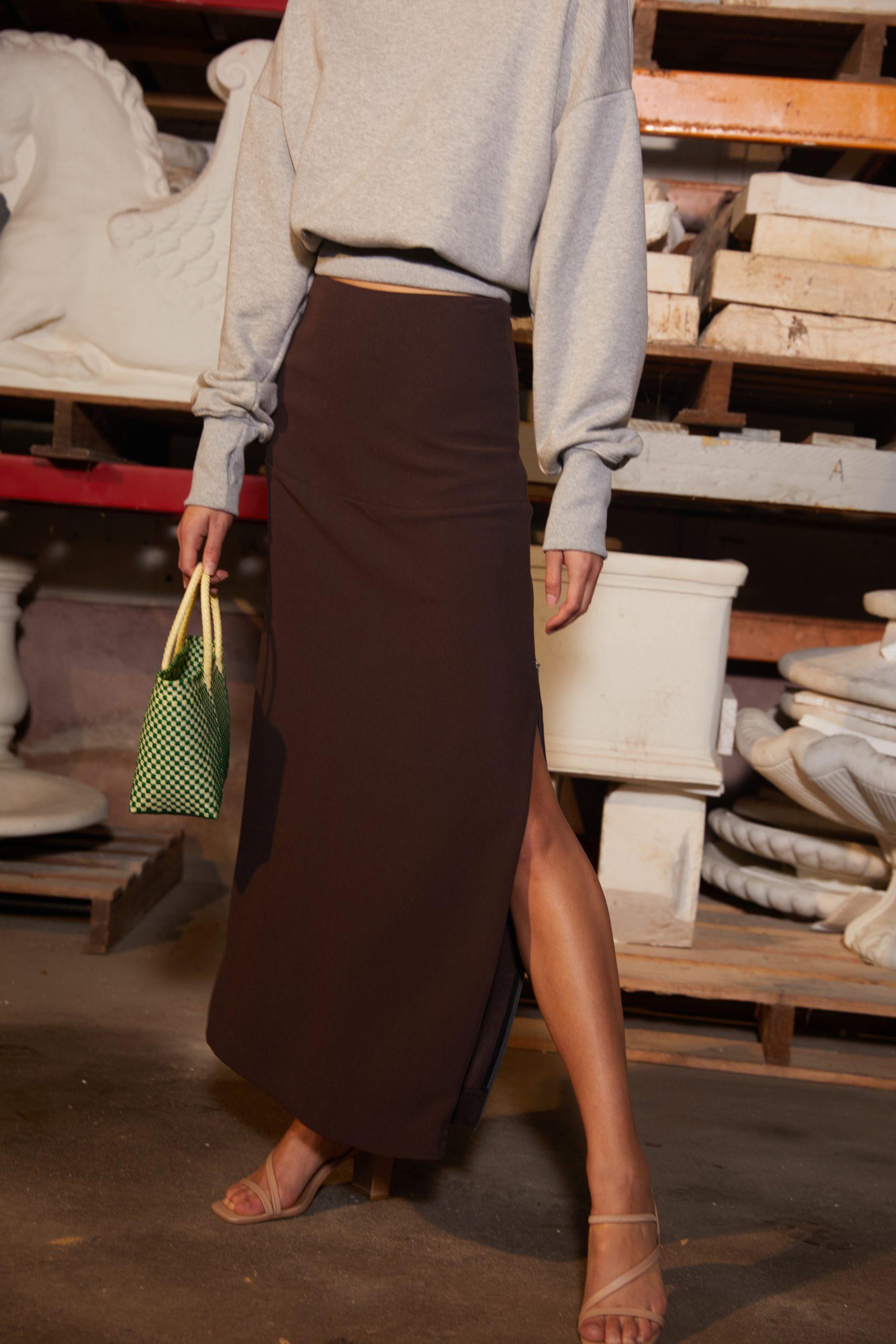 RUBY Cory Sweatshirt & Firebird Skirt Closeup