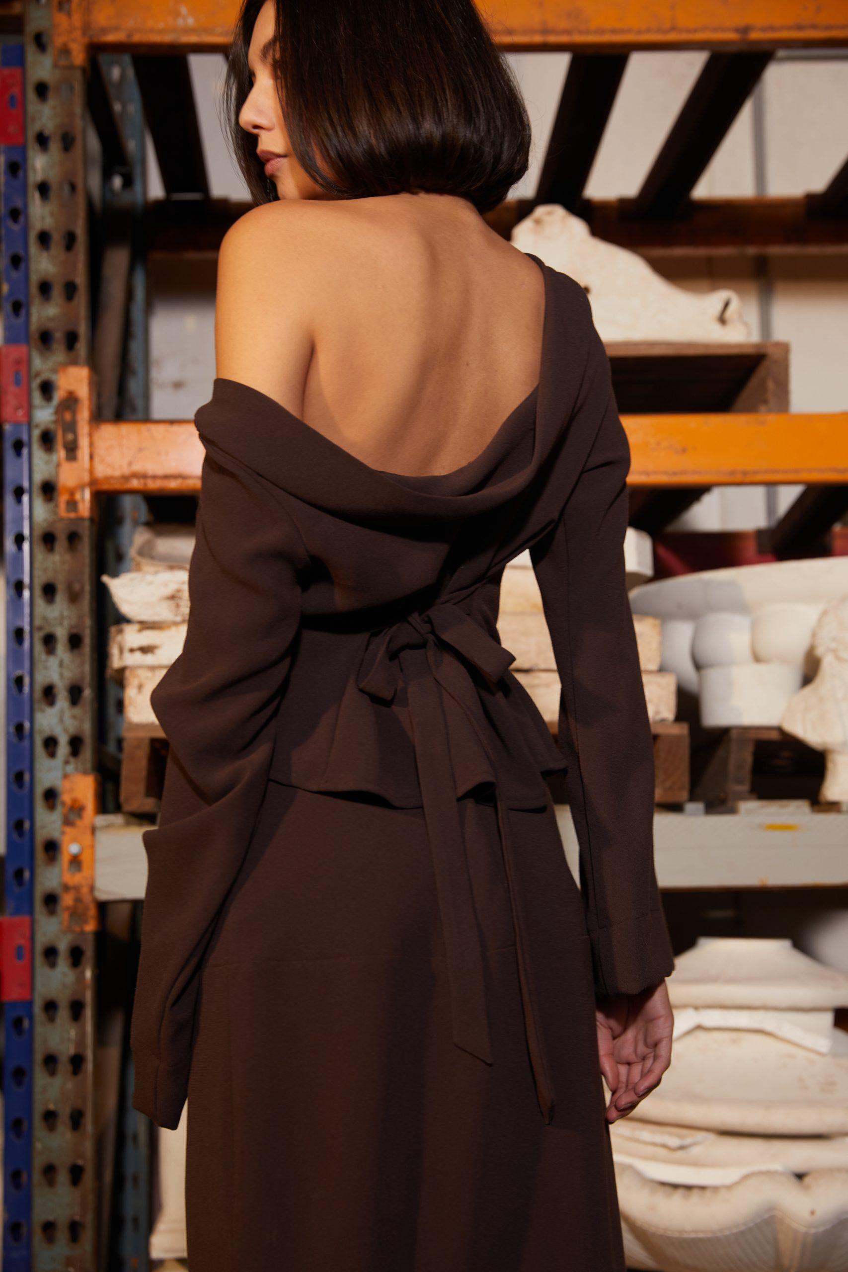 RUBY Firebird Cowl Top, Firebird Skirt Back Closeup