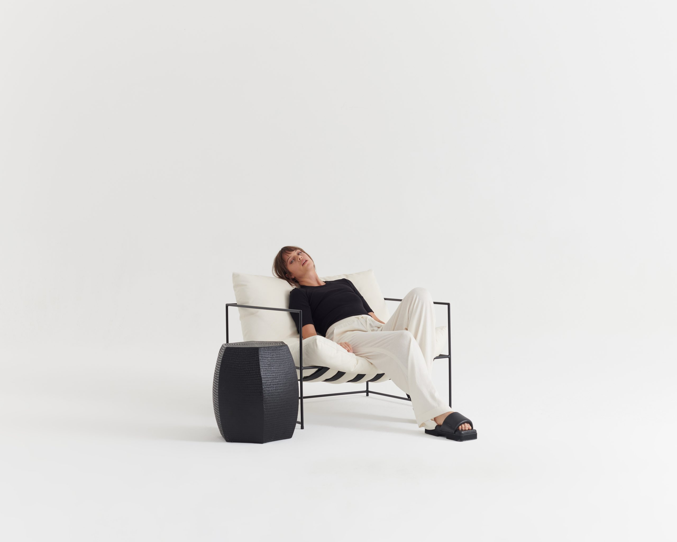 Rib-Necessary-Tee-Black_Contentment Pant-Ivory_Taylor_Recline