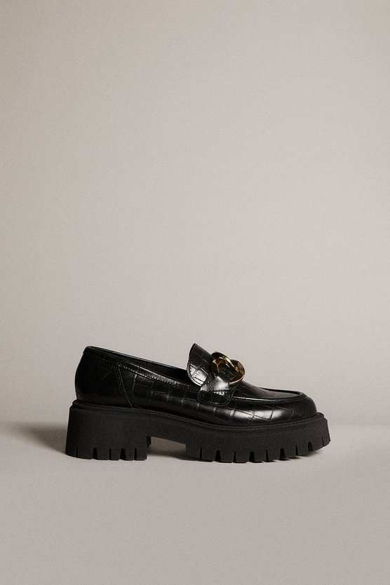 Karen Millen - black-gold-trim-platform-leather-loafer