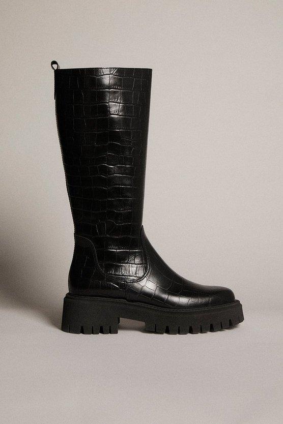 Karen Millen - black-knee-high-croc-leather-flat-boot