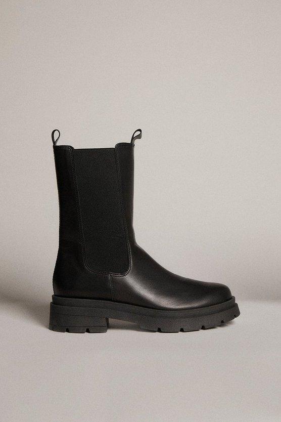 Karen Millen - black-mid-calf-leather-chelsea-boot
