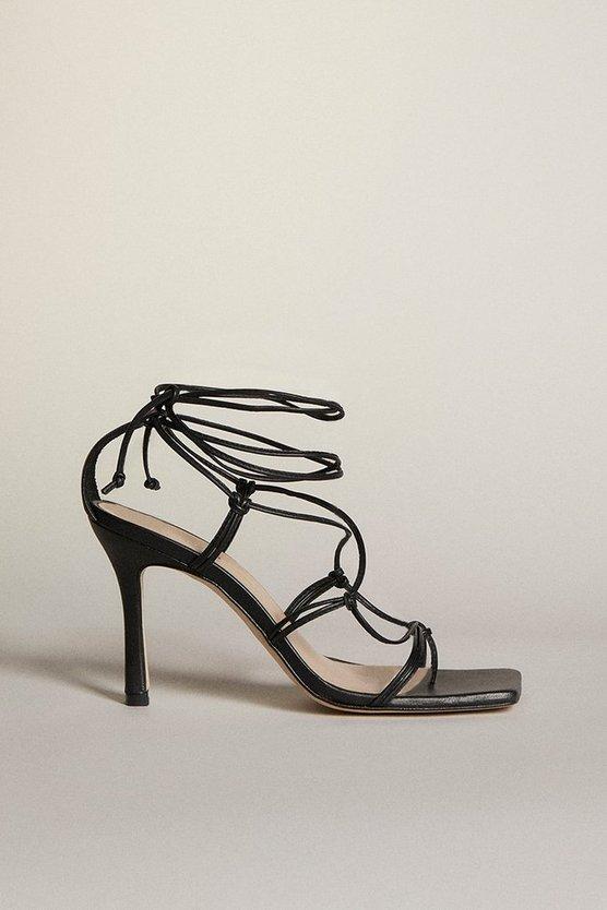 Karen Millen - black-tie-ankle-strappy-premium-leather-heeled-sandal