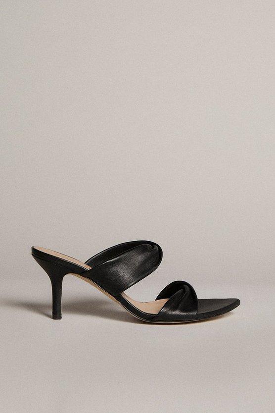 Karen Millen - black-twist-detail-premium-leather-mule
