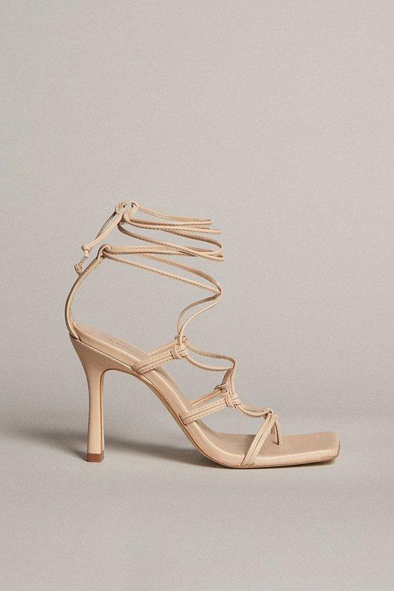 Karen Millen - cream-tie-ankle-strappy-premium-leather-heeled-sandal