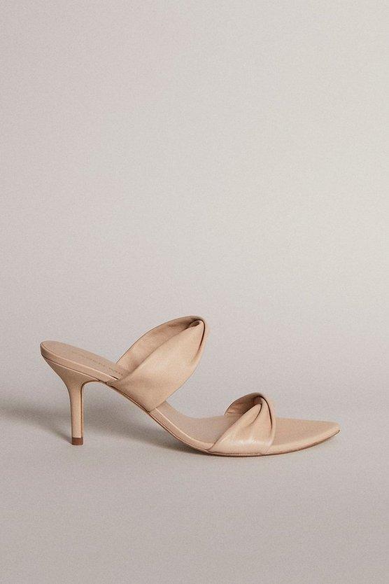 Karen Millen - cream-twist-detail-premium-leather-mule