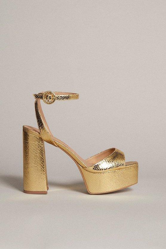 Karen Millen - gold-metallic-70's-platform-sandal