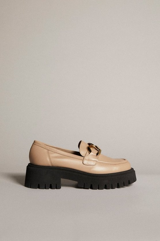 Karen Millen - off-white-gold-trim-platform-leather-loafer