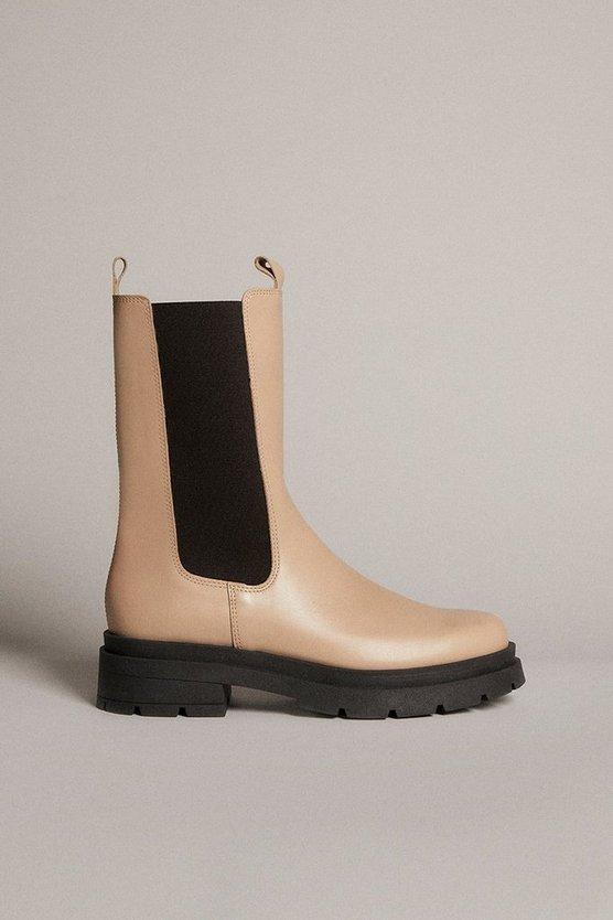 Karen Millen - off-white-mid-calf-leather-chelsea-boot