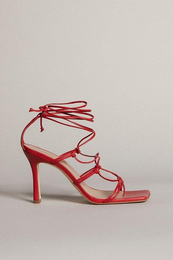 Karen Millen - red-tie-ankle-strappy-premium-leather-heeled-sandal