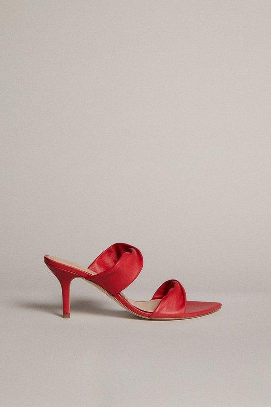 Karen Millen - red-twist-detail-premium-leather-mule