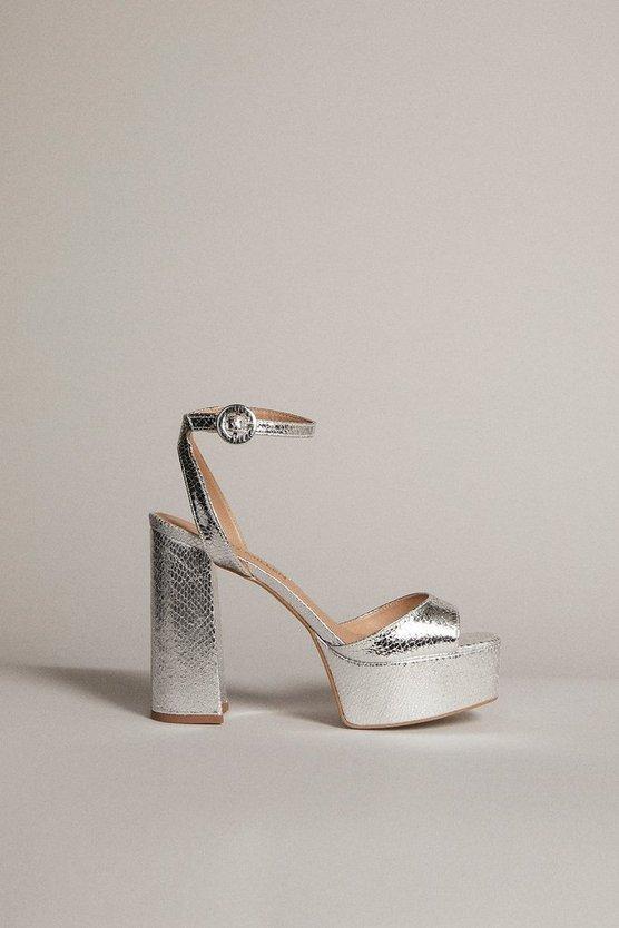 Karen Millen - silver-metallic-70's-platform-sandal