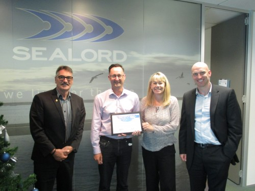Photo: (left to right) Don Graham (Trustee), Stuart Yorston (CEO OF Sealord), Karen Kelly (Trustee) and Dane Dougan (CEO of Autism NZ)